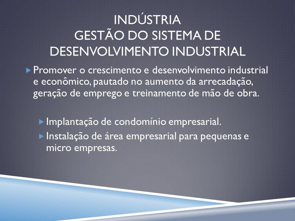 INDÚSTRIA GESTÃO DO SISTEMA DE DESENVOLVIMENTO INDUSTRIAL Promover o crescimento e desenvolvimento industrial e econômico, pautado no aumento da arrec
