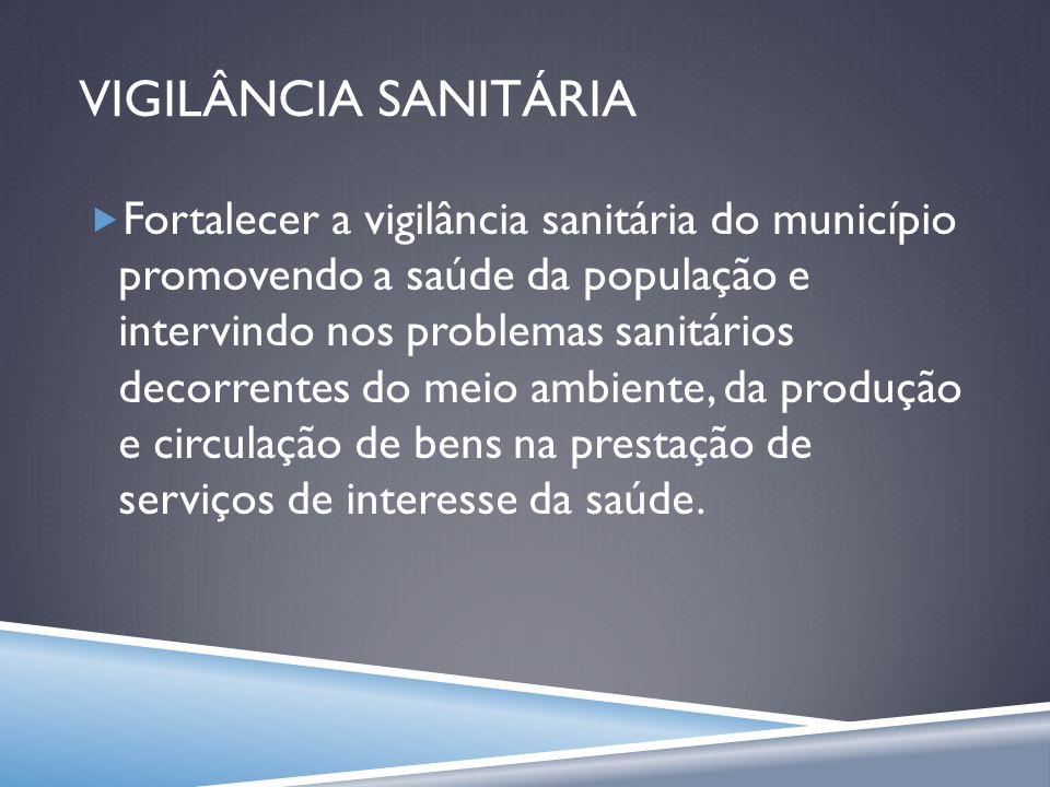 VIGILÂNCIA SANITÁRIA Fortalecer a vigilância sanitária do município promovendo a saúde da população e intervindo nos problemas sanitários decorrentes