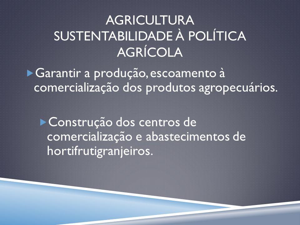 AGRICULTURA SUSTENTABILIDADE À POLÍTICA AGRÍCOLA Garantir a produção, escoamento à comercialização dos produtos agropecuários. Construção dos centros
