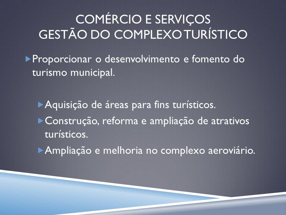 COMÉRCIO E SERVIÇOS GESTÃO DO COMPLEXO TURÍSTICO Proporcionar o desenvolvimento e fomento do turismo municipal. Aquisição de áreas para fins turístico