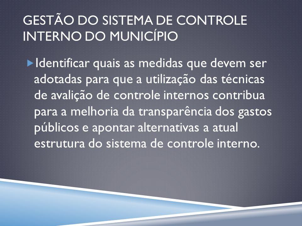 GESTÃO DO SISTEMA DE CONTROLE INTERNO DO MUNICÍPIO Identificar quais as medidas que devem ser adotadas para que a utilização das técnicas de avalição