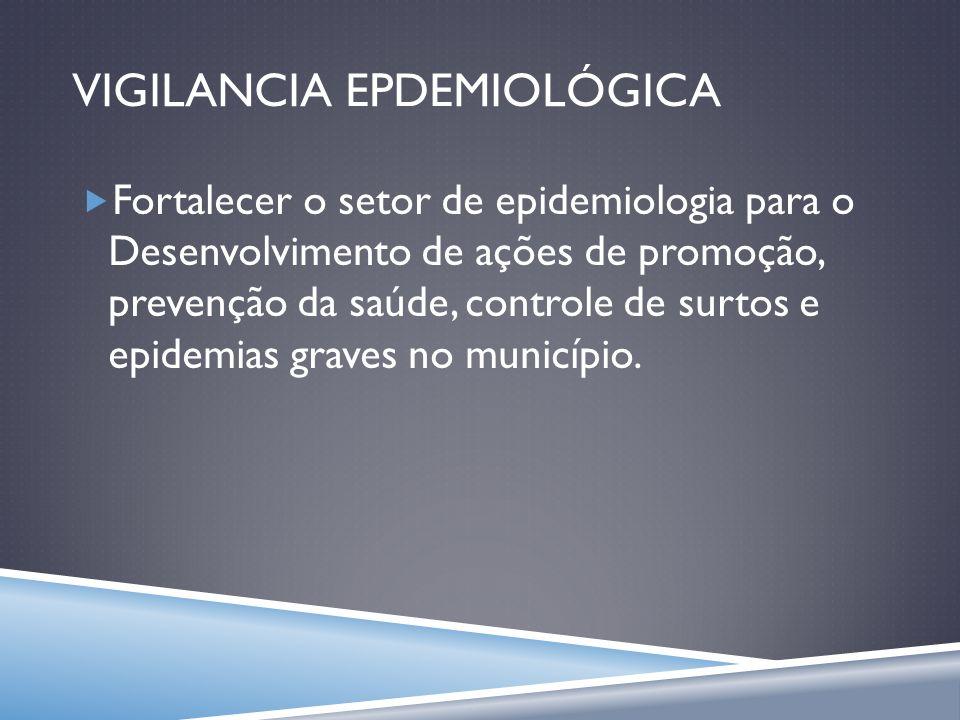 VIGILANCIA EPDEMIOLÓGICA Fortalecer o setor de epidemiologia para o Desenvolvimento de ações de promoção, prevenção da saúde, controle de surtos e epi