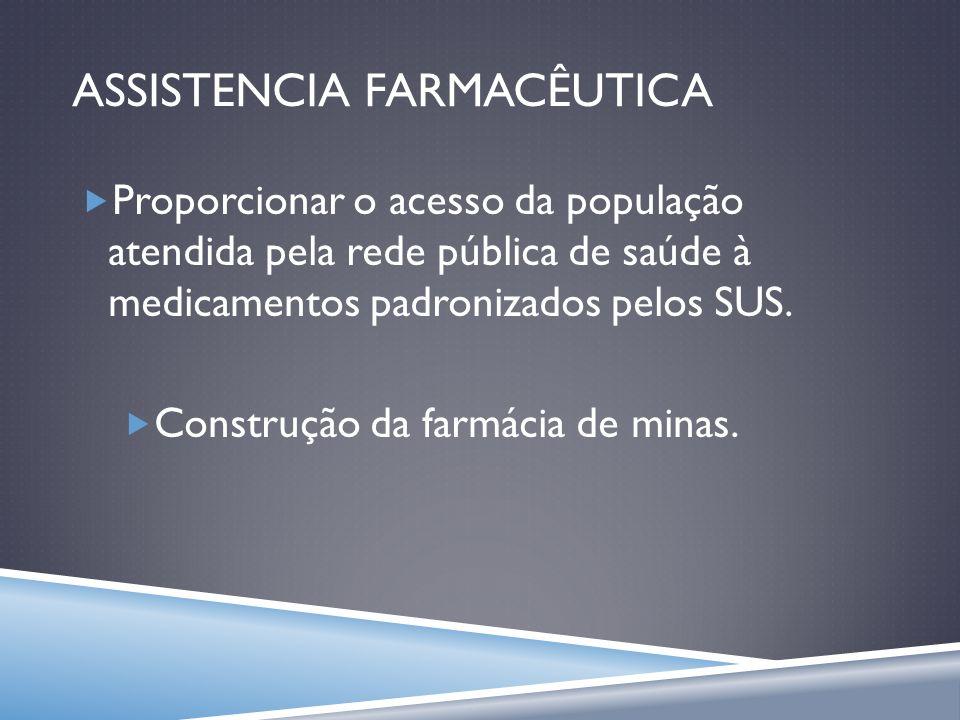 ASSISTENCIA FARMACÊUTICA Proporcionar o acesso da população atendida pela rede pública de saúde à medicamentos padronizados pelos SUS. Construção da f