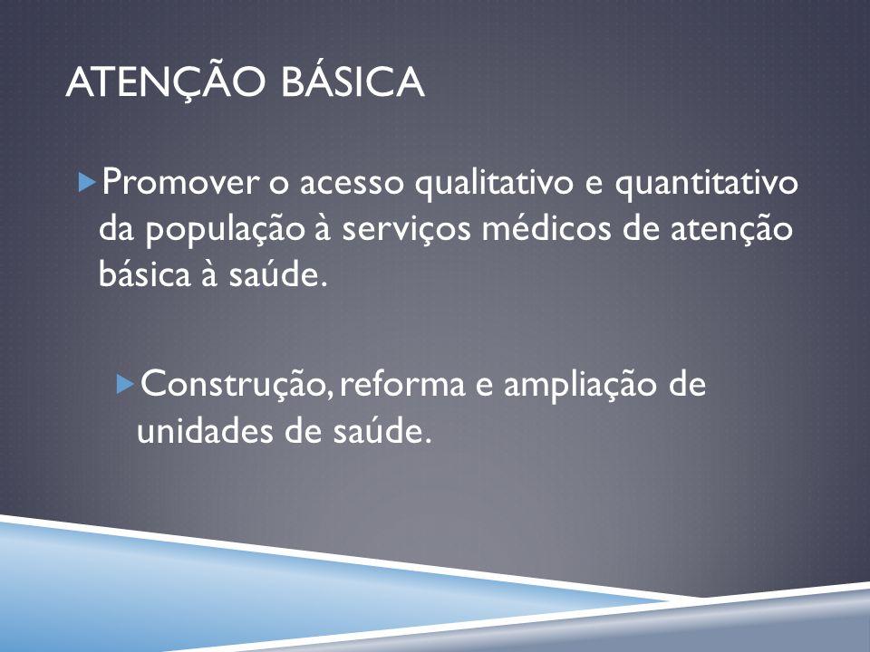 ATENÇÃO BÁSICA Promover o acesso qualitativo e quantitativo da população à serviços médicos de atenção básica à saúde. Construção, reforma e ampliação