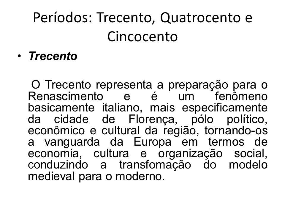 Períodos: Trecento, Quatrocento e Cincocento Trecento O Trecento representa a preparação para o Renascimento e é um fenômeno basicamente italiano, mai