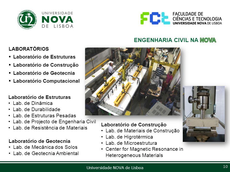 Universidade NOVA de Lisboa 10 LABORATÓRIOS Laboratório de Estruturas Laboratório de Construção Laboratório de Geotecnia Laboratório Computacional Lab