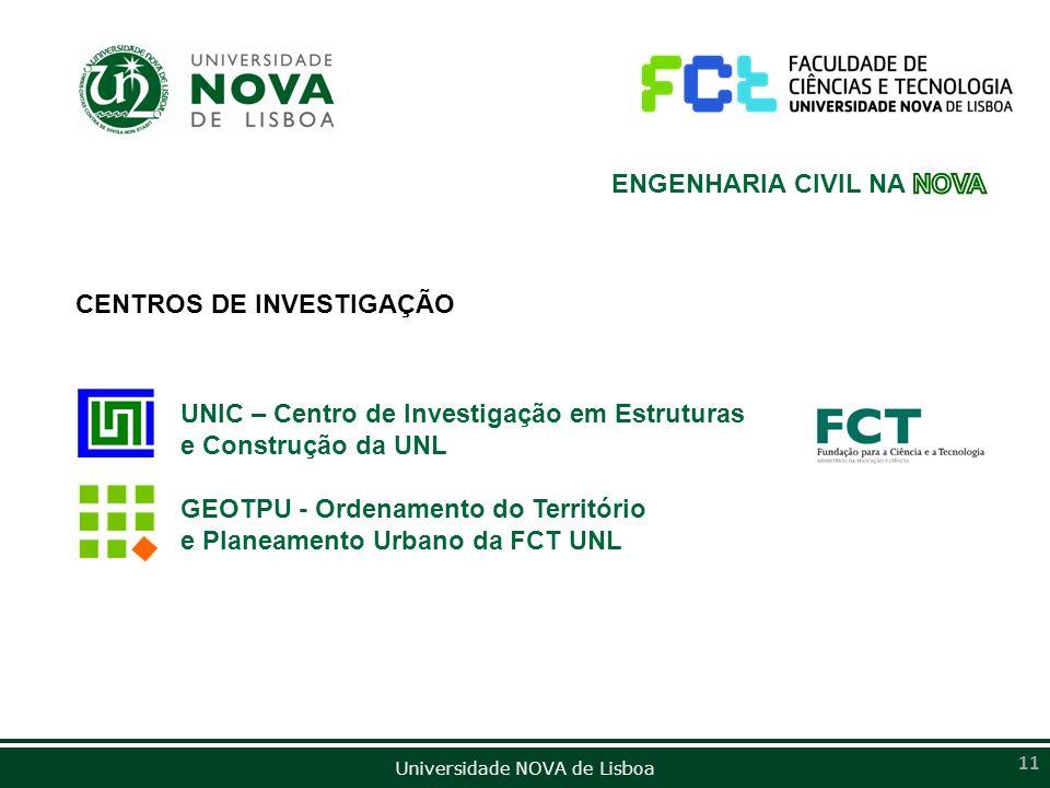 Universidade NOVA de Lisboa 11 CENTROS DE INVESTIGAÇÃO UNIC – Centro de Investigação em Estruturas e Construção da UNL GEOTPU - Ordenamento do Territó
