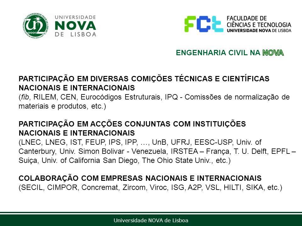 Universidade NOVA de Lisboa PARTICIPAÇÃO EM DIVERSAS COMIÇÕES TÉCNICAS E CIENTÍFICAS NACIONAIS E INTERNACIONAIS (fib, RILEM, CEN, Eurocódigos Estrutur