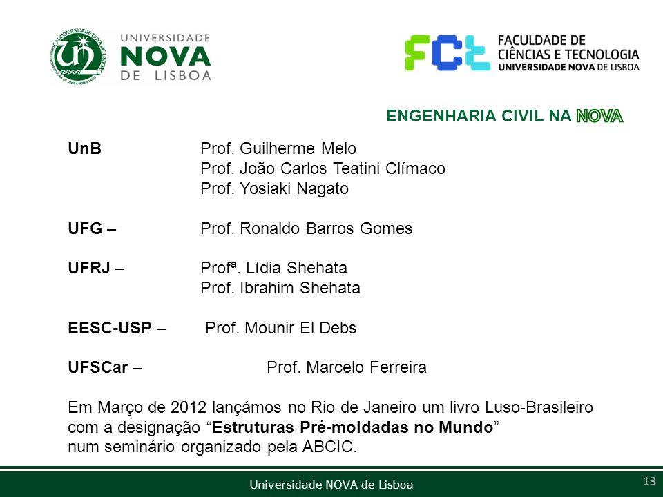 Universidade NOVA de Lisboa 13 UnB Prof. Guilherme Melo Prof. João Carlos Teatini Clímaco Prof. Yosiaki Nagato UFG – Prof. Ronaldo Barros Gomes UFRJ –