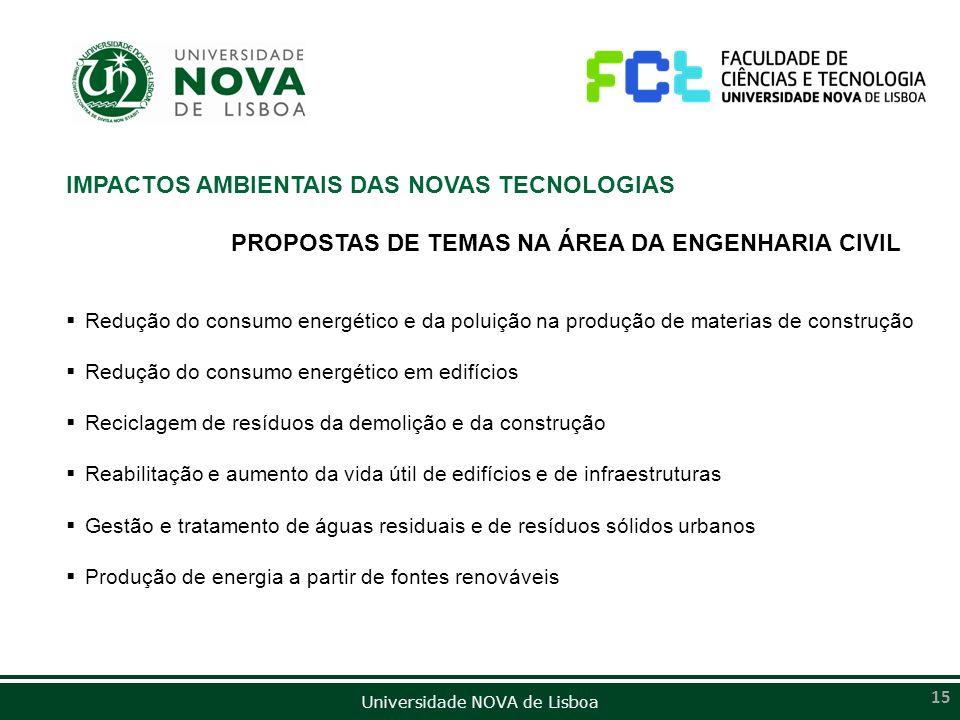 Universidade NOVA de Lisboa 15 IMPACTOS AMBIENTAIS DAS NOVAS TECNOLOGIAS PROPOSTAS DE TEMAS NA ÁREA DA ENGENHARIA CIVIL Redução do consumo energético