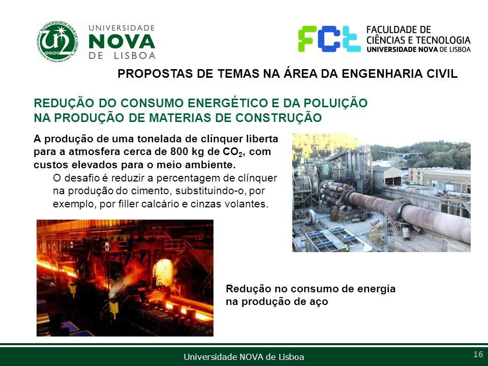 Universidade NOVA de Lisboa 16 PROPOSTAS DE TEMAS NA ÁREA DA ENGENHARIA CIVIL REDUÇÃO DO CONSUMO ENERGÉTICO E DA POLUIÇÃO NA PRODUÇÃO DE MATERIAS DE C