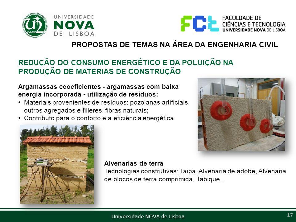 Universidade NOVA de Lisboa 17 Argamassas ecoeficientes - argamassas com baixa energia incorporada - utilização de resíduos: Materiais provenientes de