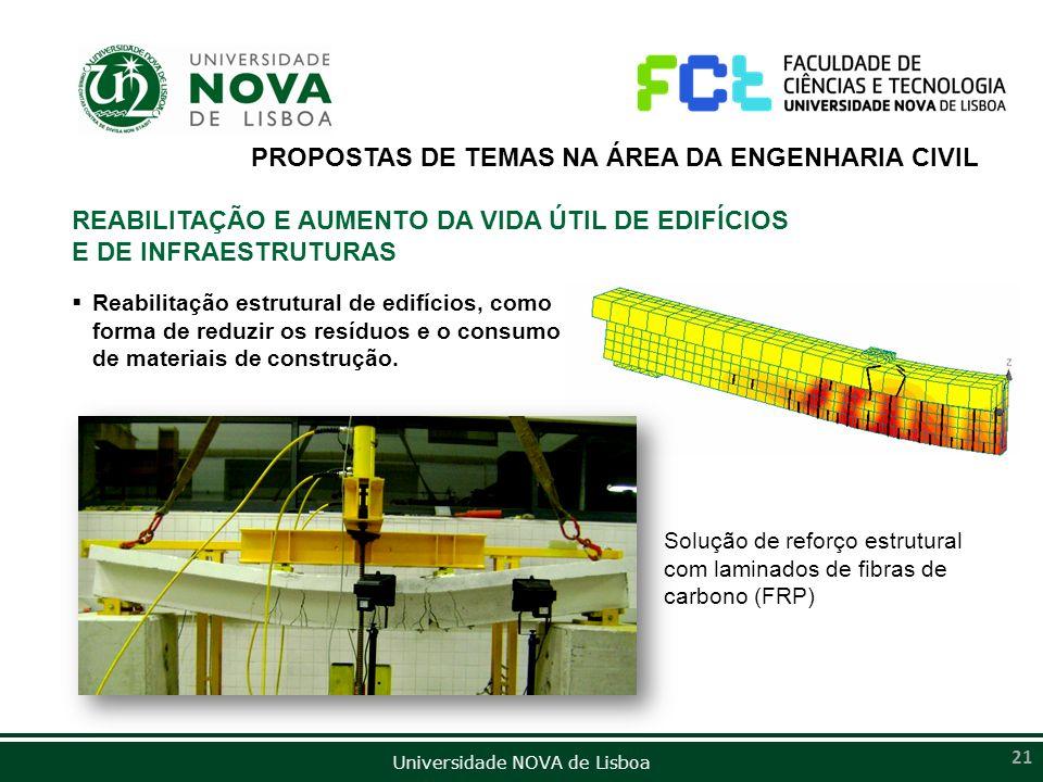 Universidade NOVA de Lisboa 21 PROPOSTAS DE TEMAS NA ÁREA DA ENGENHARIA CIVIL REABILITAÇÃO E AUMENTO DA VIDA ÚTIL DE EDIFÍCIOS E DE INFRAESTRUTURAS Re
