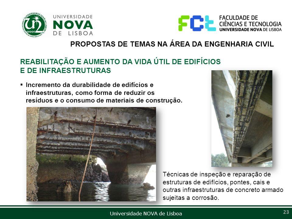 Universidade NOVA de Lisboa 23 Técnicas de inspeção e reparação de estruturas de edifícios, pontes, cais e outras infraestruturas de concreto armado s