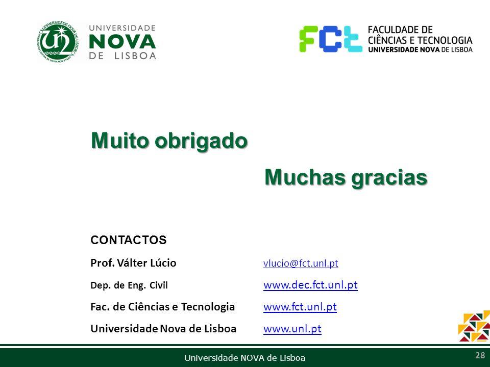 Universidade NOVA de Lisboa 28 CONTACTOS Prof. Válter Lúcio vlucio@fct.unl.pt vlucio@fct.unl.pt Dep. de Eng. Civil www.dec.fct.unl.pt www.dec.fct.unl.