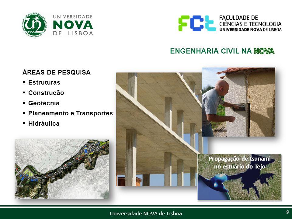 Universidade NOVA de Lisboa 9 ÁREAS DE PESQUISA Estruturas Construção Geotecnia Planeamento e Transportes Hidráulica Propagação de tsunami no estuário