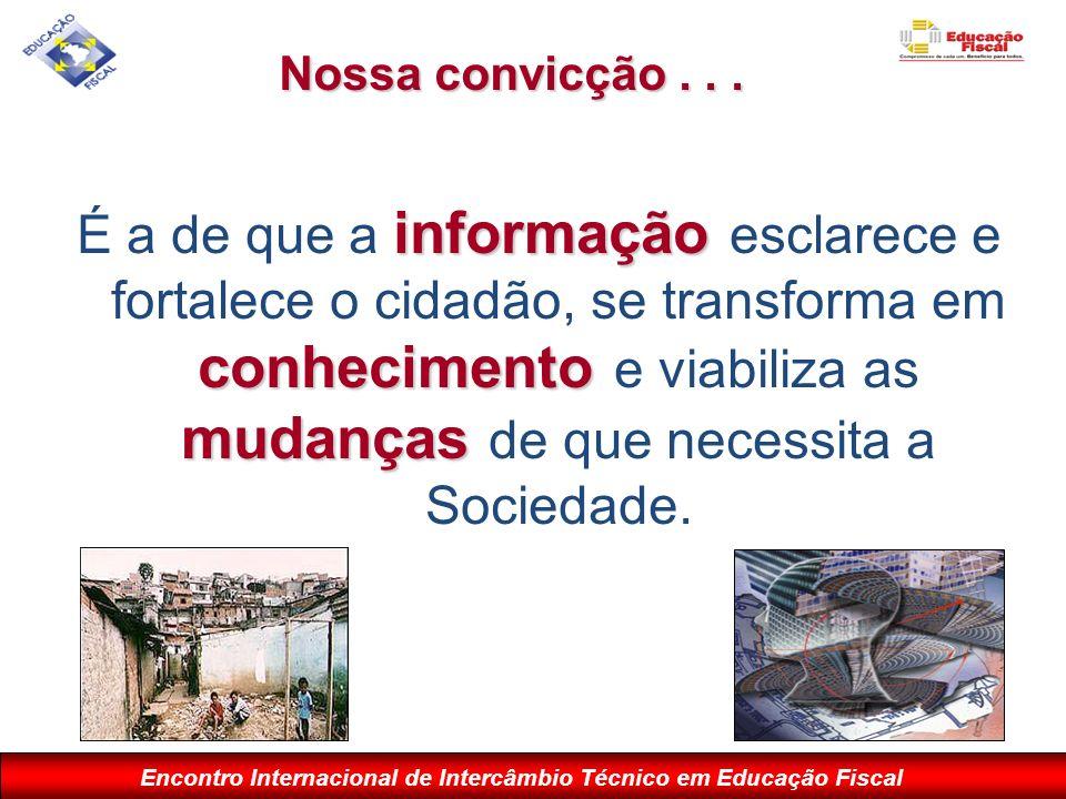 Encontro Internacional de Intercâmbio Técnico em Educação Fiscal Nossa convicção... informação conhecimento mudanças É a de que a informação esclarece