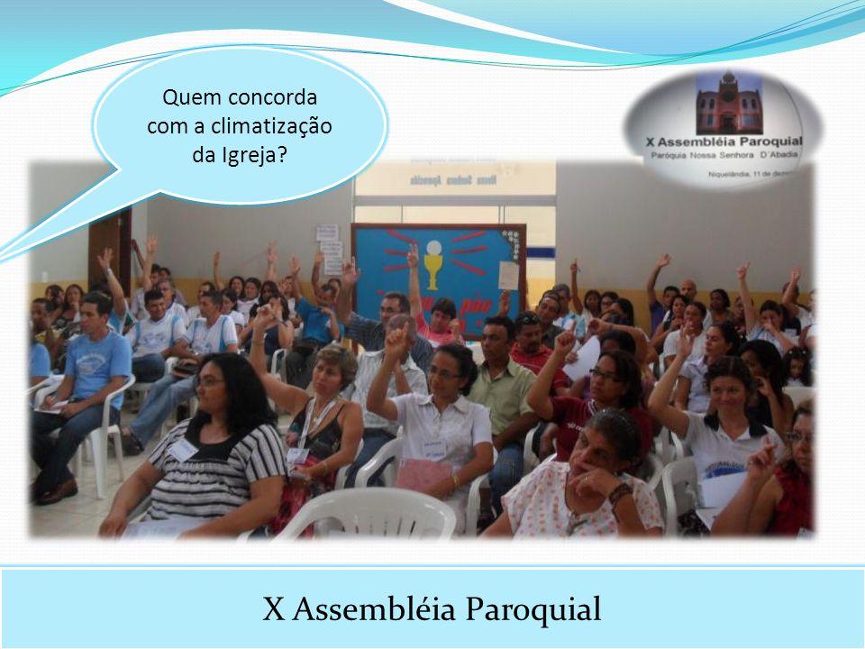 X Assembléia Paroquial Quem concorda com a climatização da Igreja?