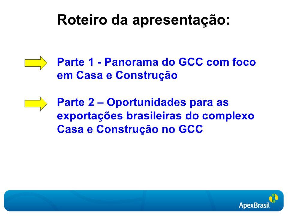 Roteiro da apresentação: Parte 1 - Panorama do GCC com foco em Casa e Construção Parte 2 – Oportunidades para as exportações brasileiras do complexo Casa e Construção no GCC