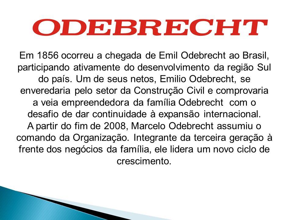 Em 1856 ocorreu a chegada de Emil Odebrecht ao Brasil, participando ativamente do desenvolvimento da região Sul do país. Um de seus netos, Emilio Odeb