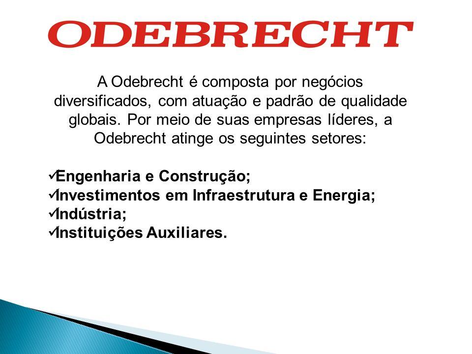 A Odebrecht é composta por negócios diversificados, com atuação e padrão de qualidade globais. Por meio de suas empresas líderes, a Odebrecht atinge o