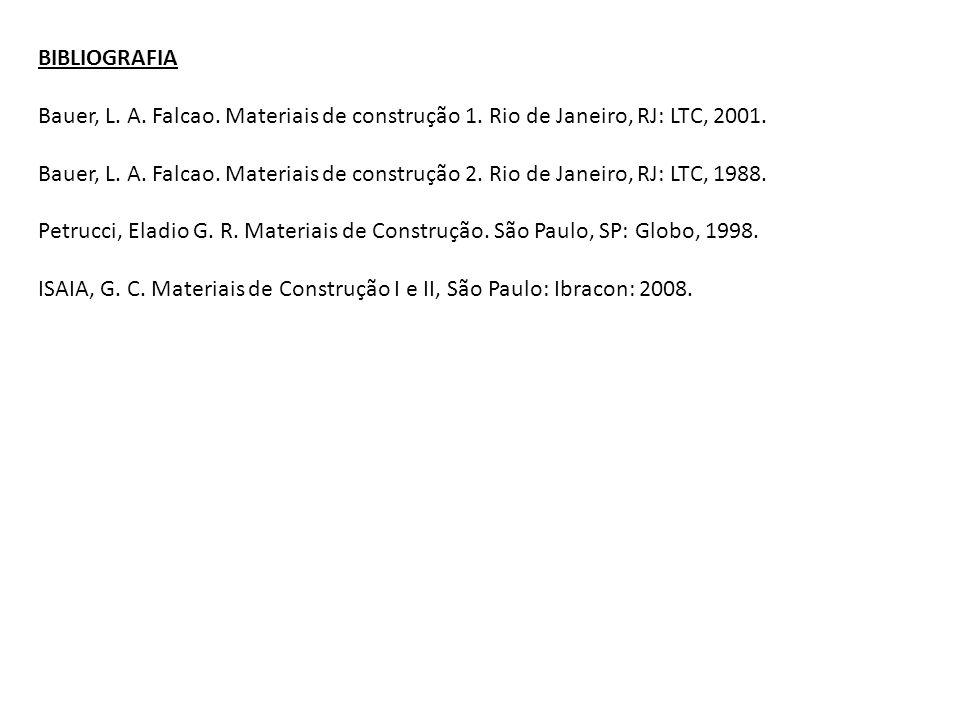 BIBLIOGRAFIA Bauer, L. A. Falcao. Materiais de construção 1. Rio de Janeiro, RJ: LTC, 2001. Bauer, L. A. Falcao. Materiais de construção 2. Rio de Jan