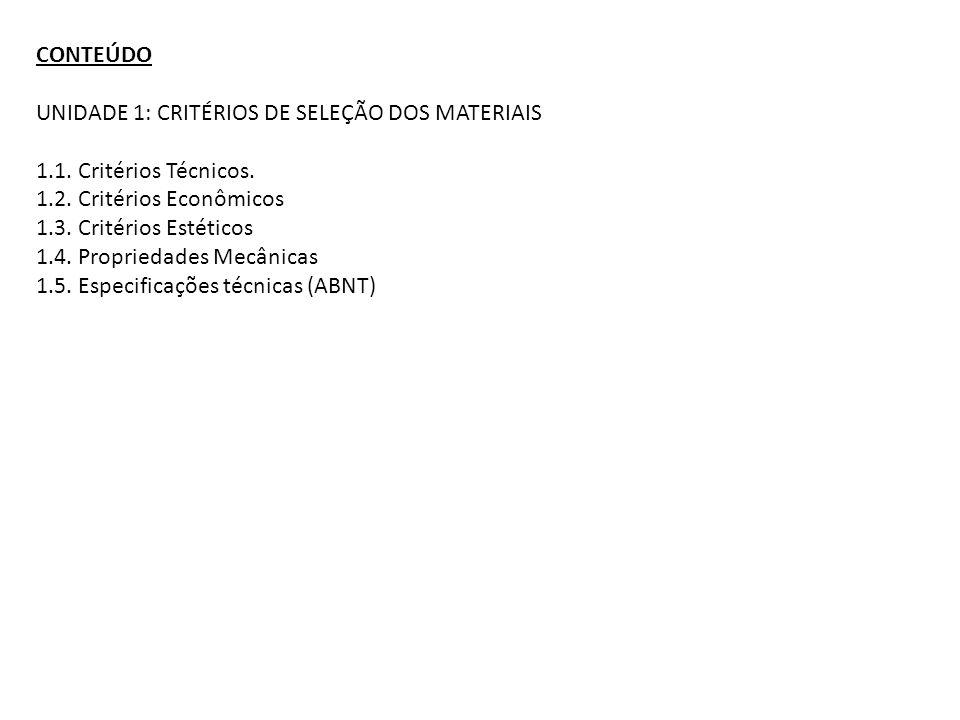 CONTEÚDO UNIDADE 1: CRITÉRIOS DE SELEÇÃO DOS MATERIAIS 1.1. Critérios Técnicos. 1.2. Critérios Econômicos 1.3. Critérios Estéticos 1.4. Propriedades M