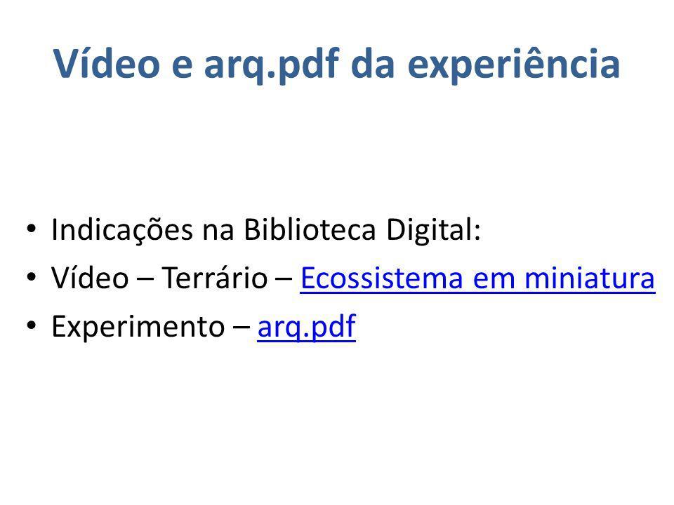Vídeo e arq.pdf da experiência Indicações na Biblioteca Digital: Vídeo – Terrário – Ecossistema em miniaturaEcossistema em miniatura Experimento – arq.pdfarq.pdf