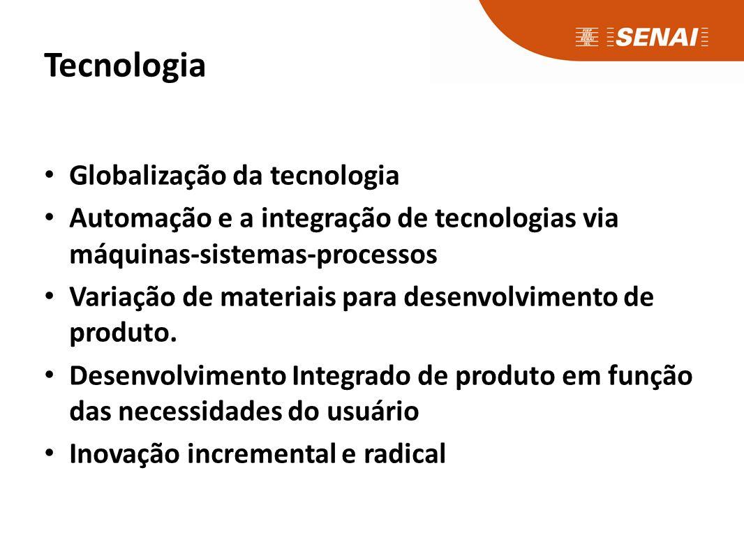 Globalização da tecnologia Automação e a integração de tecnologias via máquinas-sistemas-processos Variação de materiais para desenvolvimento de produto.