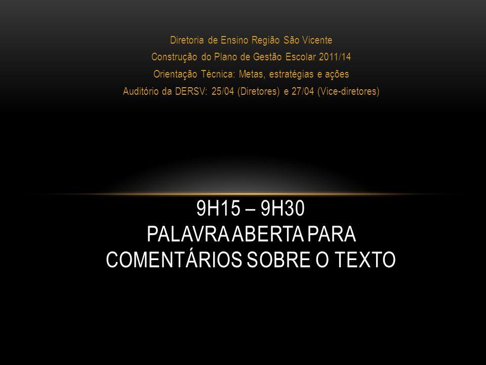 Diretoria de Ensino Região São Vicente Construção do Plano de Gestão Escolar 2011/14 Orientação Técnica: Metas, estratégias e ações Auditório da DERSV: 25/04 (Diretores) e 27/04 (Vice-diretores)