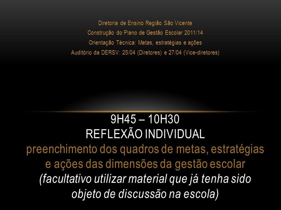 Diretoria de Ensino Região São Vicente Construção do Plano de Gestão Escolar 2011/14 Orientação Técnica: Metas, estratégias e ações Auditório da DERSV: 25/04 (Diretores) e 27/04 (Vice-diretores) 10H30 – 11H CAFÉ