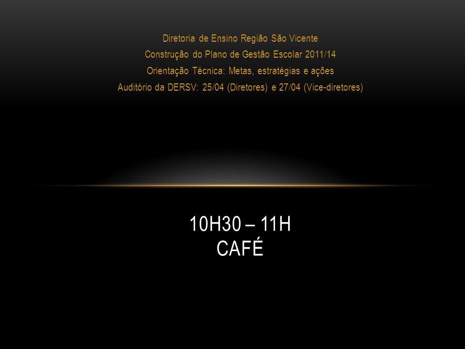 Diretoria de Ensino Região São Vicente Construção do Plano de Gestão Escolar 2011/14 Orientação Técnica: Metas, estratégias e ações Auditório da DERSV: 25/04 (Diretores) e 27/04 (Vice-diretores) 11H – 11H45 A) FORMAÇÃO DE 10 GRUPOS (até seis integrantes); B) TRABALHO EM GRUPOS - compartilhamento do trabalho individual de todas as dimensões