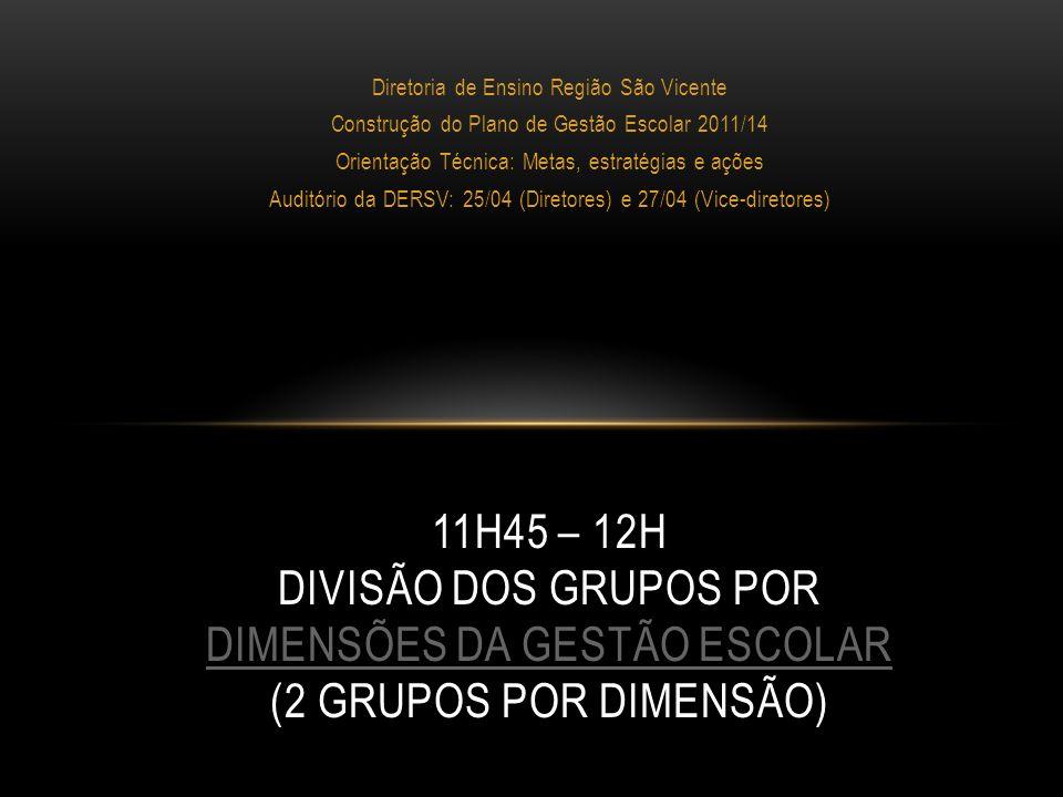 Diretoria de Ensino Região São Vicente Construção do Plano de Gestão Escolar 2011/14 Orientação Técnica: Metas, estratégias e ações Auditório da DERSV