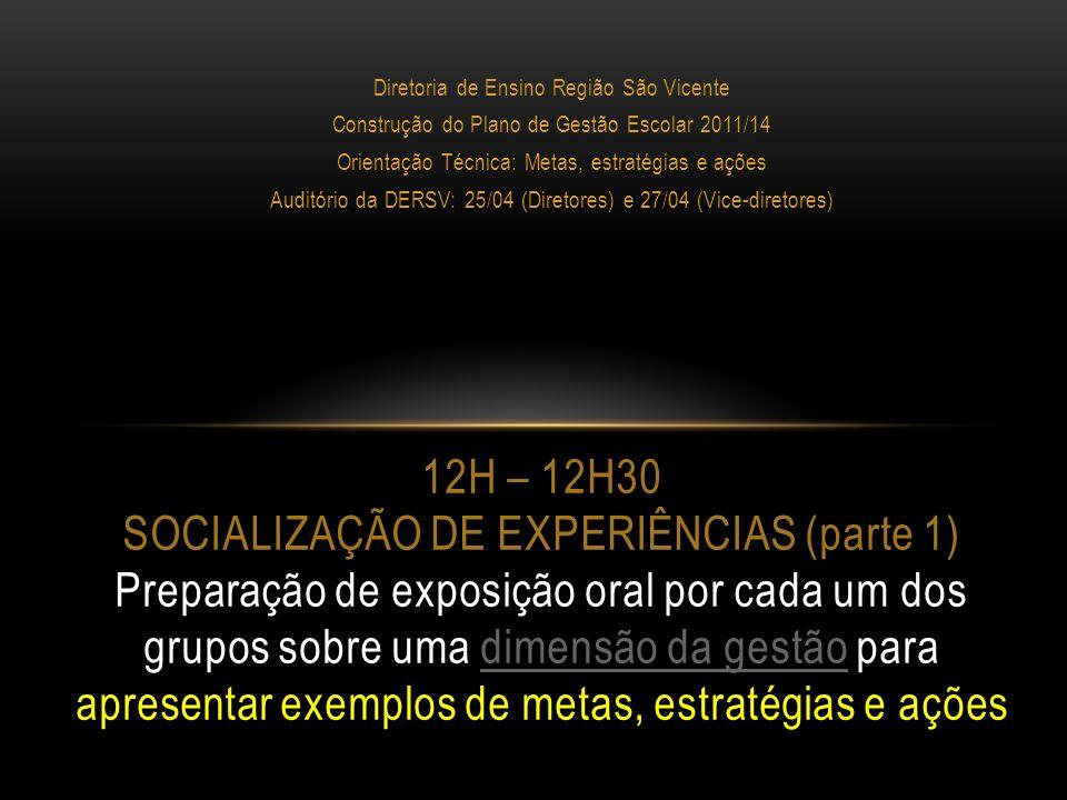 Diretoria de Ensino Região São Vicente Construção do Plano de Gestão Escolar 2011/14 Orientação Técnica: Metas, estratégias e ações Auditório da DERSV: 25/04 (Diretores) e 27/04 (Vice-diretores) 12H30 – 13H15 SOCIALIZAÇÃO DE EXPERIÊNCIAS (parte 2): APRESENTAÇÃO POR CADA GRUPO DE EXEMPLOS DE METAS, ESTRATÉGIAS E AÇÕES EM CADA DIMENSÃO DA GESTÃO ESCOLAR