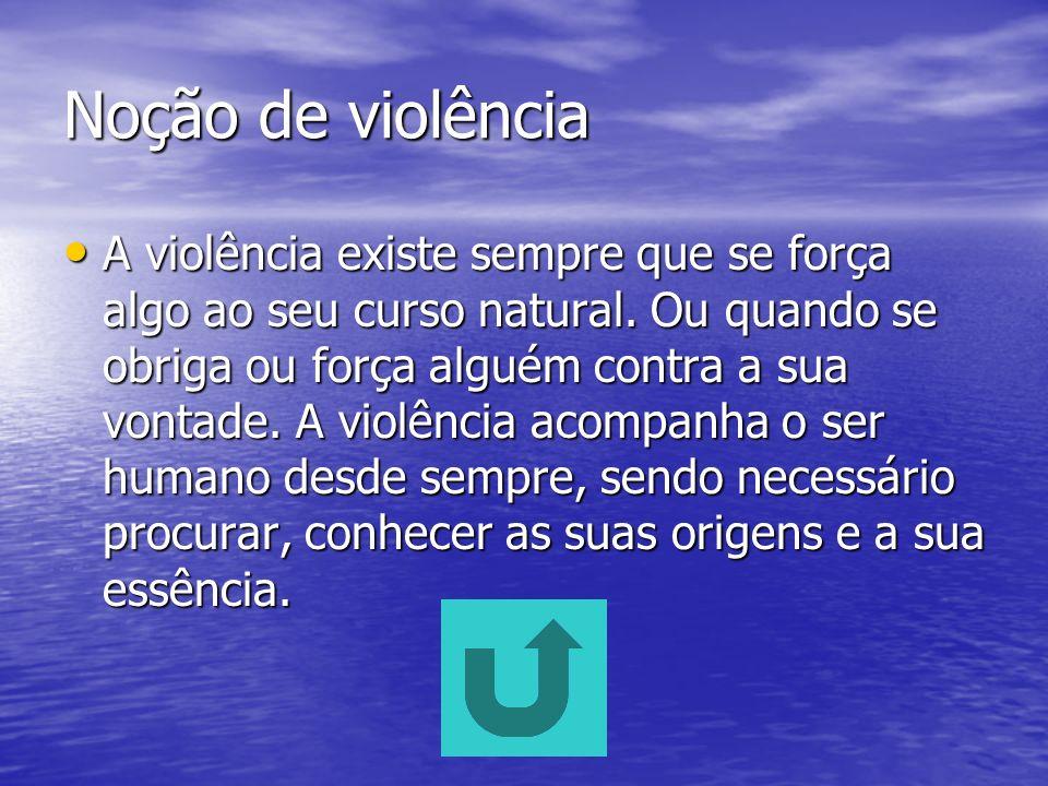 A violência na Televisão Noção de violência A violência na Televisão. Exemplos de violência visionados nos diferentes canais de televisão portuguesa.