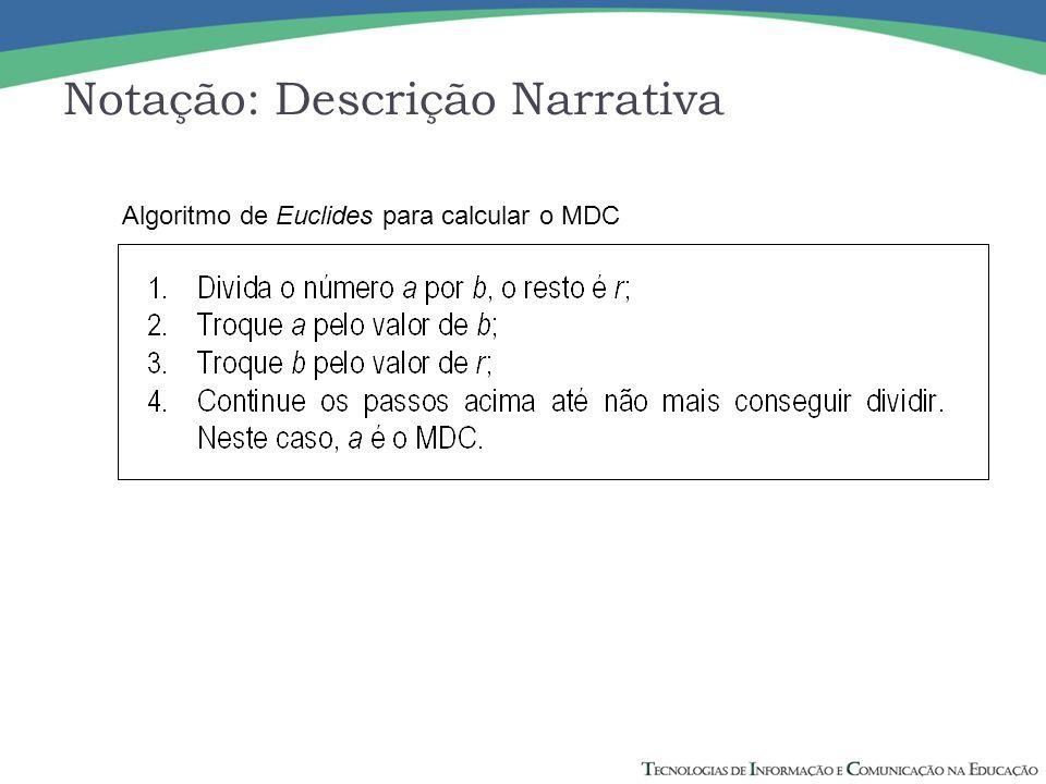 Notação: Descrição Narrativa Algoritmo de Euclides para calcular o MDC