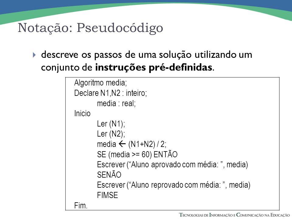 Notação: Pseudocódigo descreve os passos de uma solução utilizando um conjunto de instruções pré-definidas. Algoritmo media; Declare N1,N2 : inteiro;