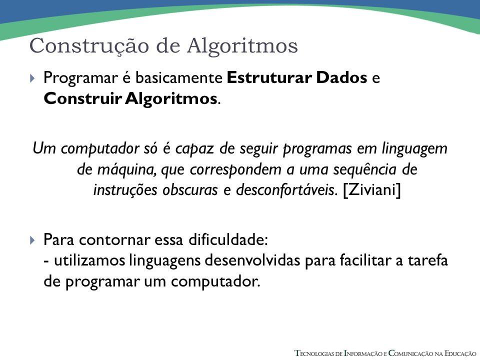 Construção de Algoritmos Programar é basicamente Estruturar Dados e Construir Algoritmos.