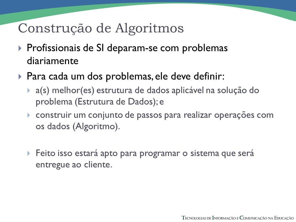 Profissionais de SI deparam-se com problemas diariamente Para cada um dos problemas, ele deve definir: a(s) melhor(es) estrutura de dados aplicável na solução do problema (Estrutura de Dados); e construir um conjunto de passos para realizar operações com os dados (Algoritmo).
