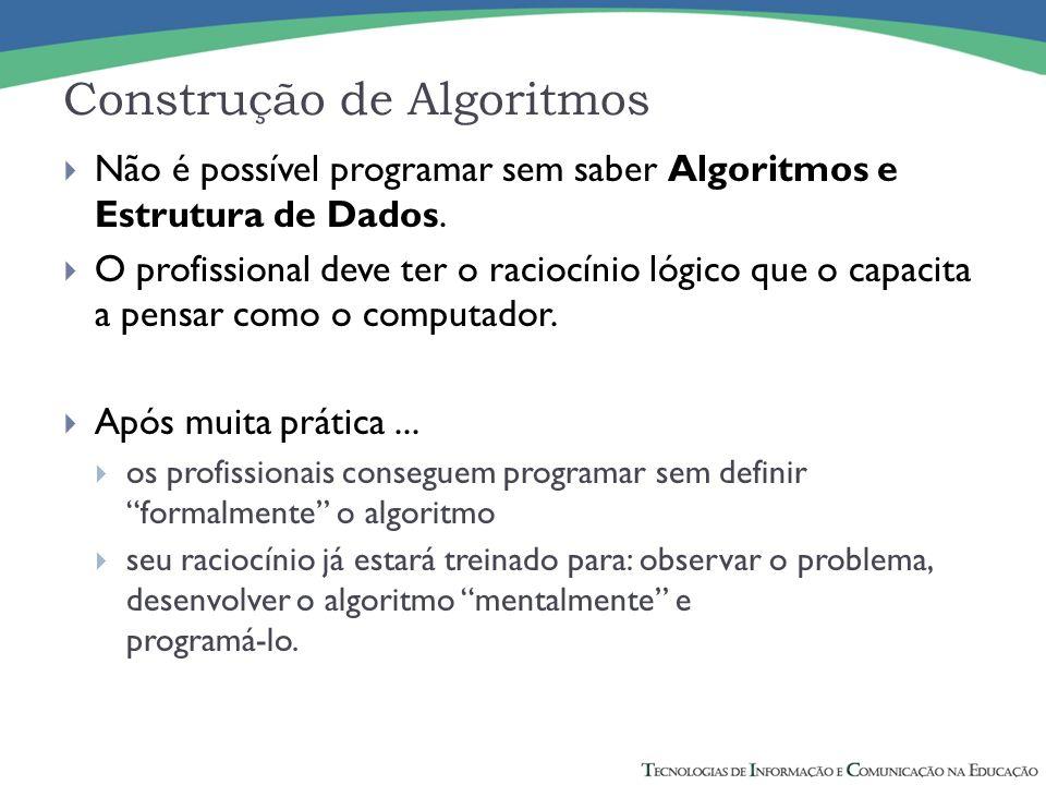 Construção de Algoritmos Não é possível programar sem saber Algoritmos e Estrutura de Dados. O profissional deve ter o raciocínio lógico que o capacit