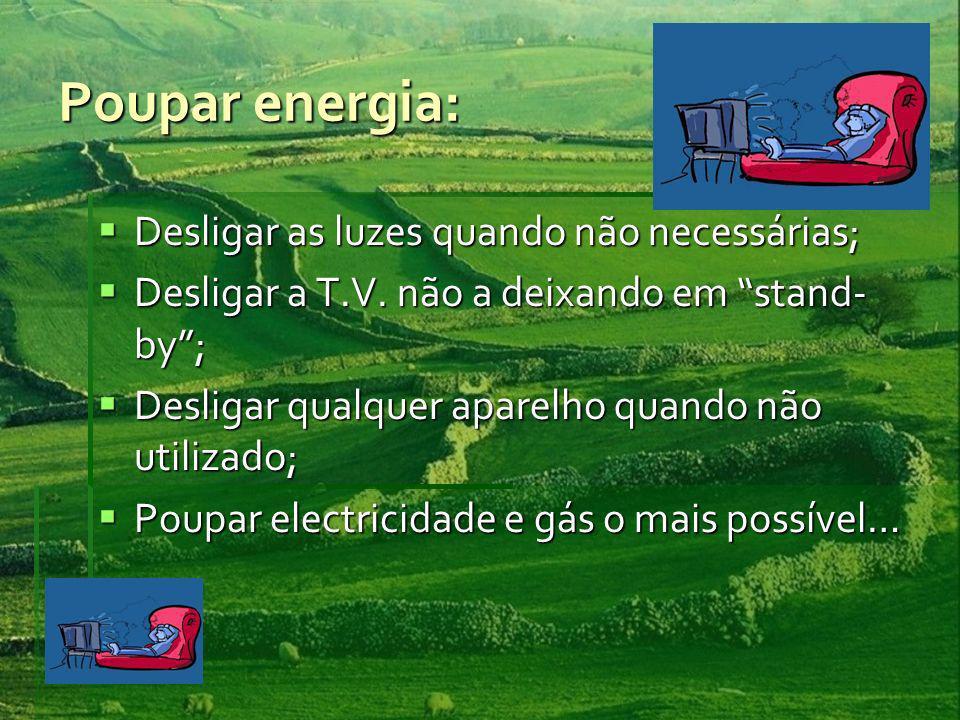 Poupar energia: Desligar as luzes quando não necessárias; Desligar as luzes quando não necessárias; Desligar a T.V. não a deixando em stand- by; Desli