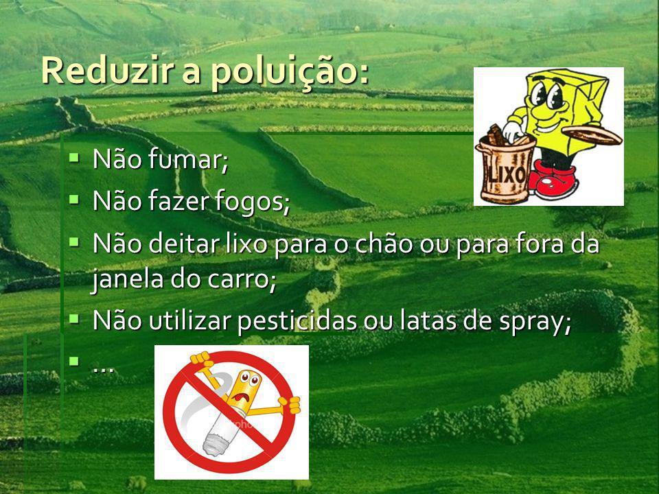 Reduzir a poluição: Não fumar; Não fumar; Não fazer fogos; Não fazer fogos; Não deitar lixo para o chão ou para fora da janela do carro; Não deitar lixo para o chão ou para fora da janela do carro; Não utilizar pesticidas ou latas de spray; Não utilizar pesticidas ou latas de spray; …