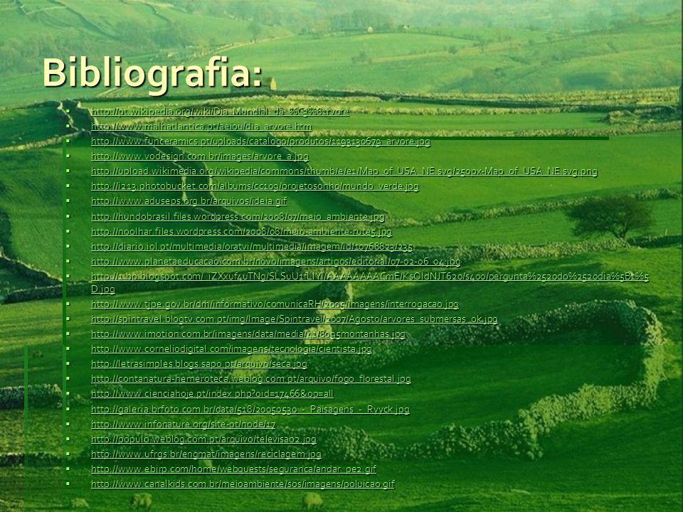 Bibliografia: http://pt.wikipedia.org/wiki/Dia_Mundial_da_%C3%81rvore http://pt.wikipedia.org/wiki/Dia_Mundial_da_%C3%81rvore http://pt.wikipedia.org/