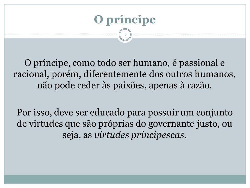 O príncipe O príncipe, como todo ser humano, é passional e racional, porém, diferentemente dos outros humanos, não pode ceder às paixões, apenas à raz