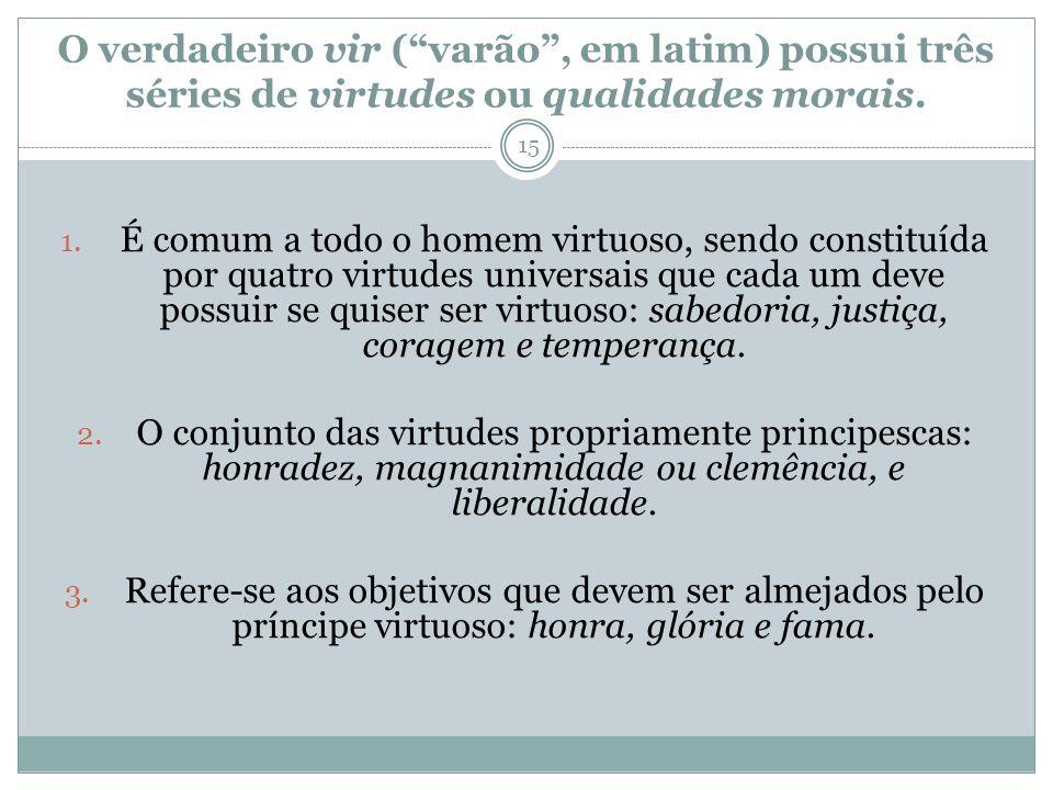 O verdadeiro vir (varão, em latim) possui três séries de virtudes ou qualidades morais. 1. É comum a todo o homem virtuoso, sendo constituída por quat