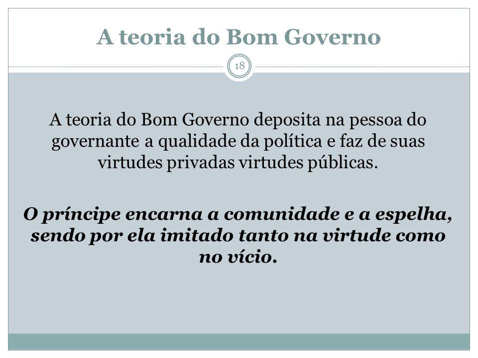 A teoria do Bom Governo A teoria do Bom Governo deposita na pessoa do governante a qualidade da política e faz de suas virtudes privadas virtudes públ