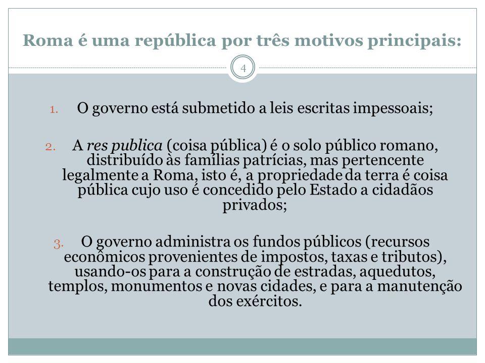 Roma é uma república por três motivos principais: 1. O governo está submetido a leis escritas impessoais; 2. A res publica (coisa pública) é o solo pú
