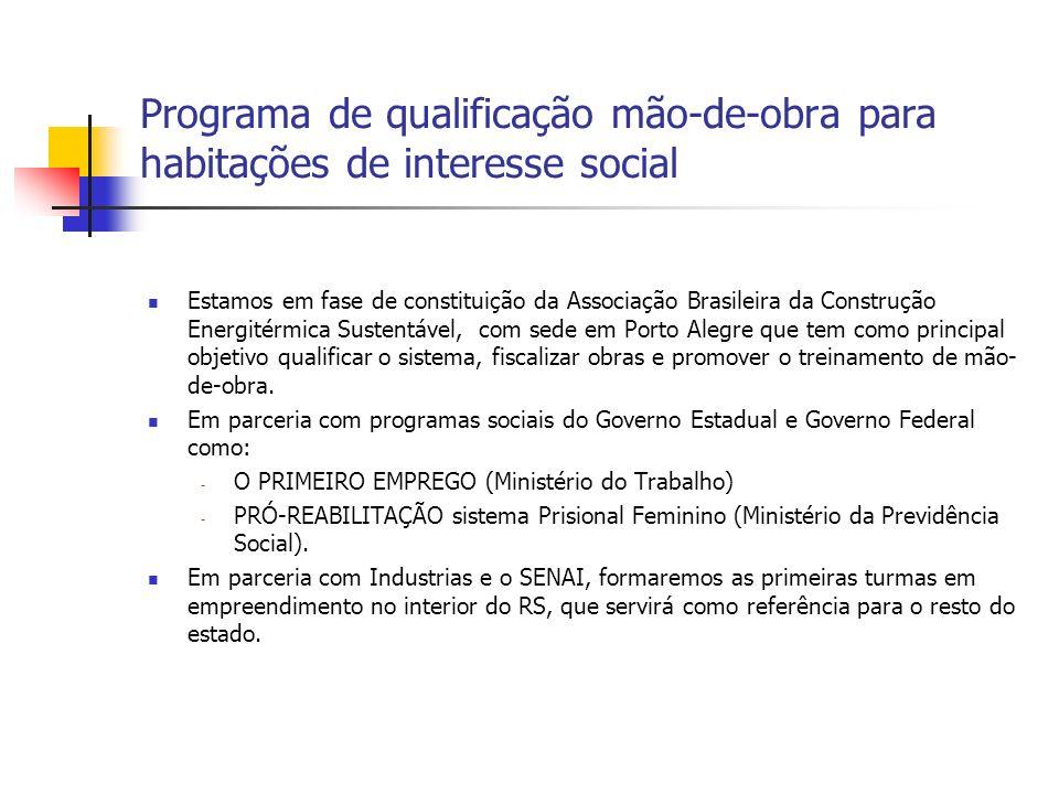 Programa de qualificação mão-de-obra para habitações de interesse social Estamos em fase de constituição da Associação Brasileira da Construção Energi