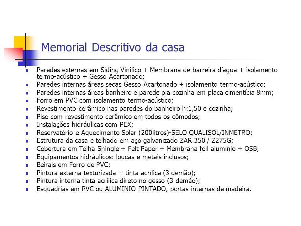 Memorial Descritivo da casa Paredes externas em Siding Vinilico + Membrana de barreira dagua + isolamento termo-acústico + Gesso Acartonado; Paredes i