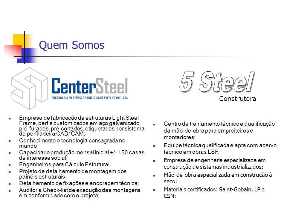 Quem Somos Empresa de fabricação de estruturas Light Steel Frame, perfis customizados em aço galvanizado, pré-furados, pré-cortados, etiquetados por s